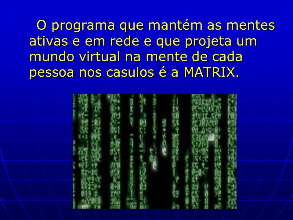 O programa que mantém as mentes ativas e em rede e que projeta um mundo virtual na mente de cada pessoa nos casulos é a MATRIX. O programa que mantém