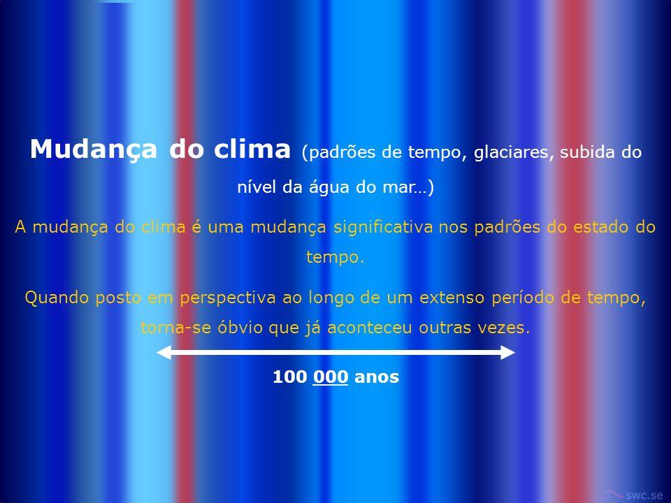 Mudança do clima (padrões de tempo, glaciares, subida do nível da água do mar…) A mudança do clima é uma mudança significativa nos padrões do estado do tempo.