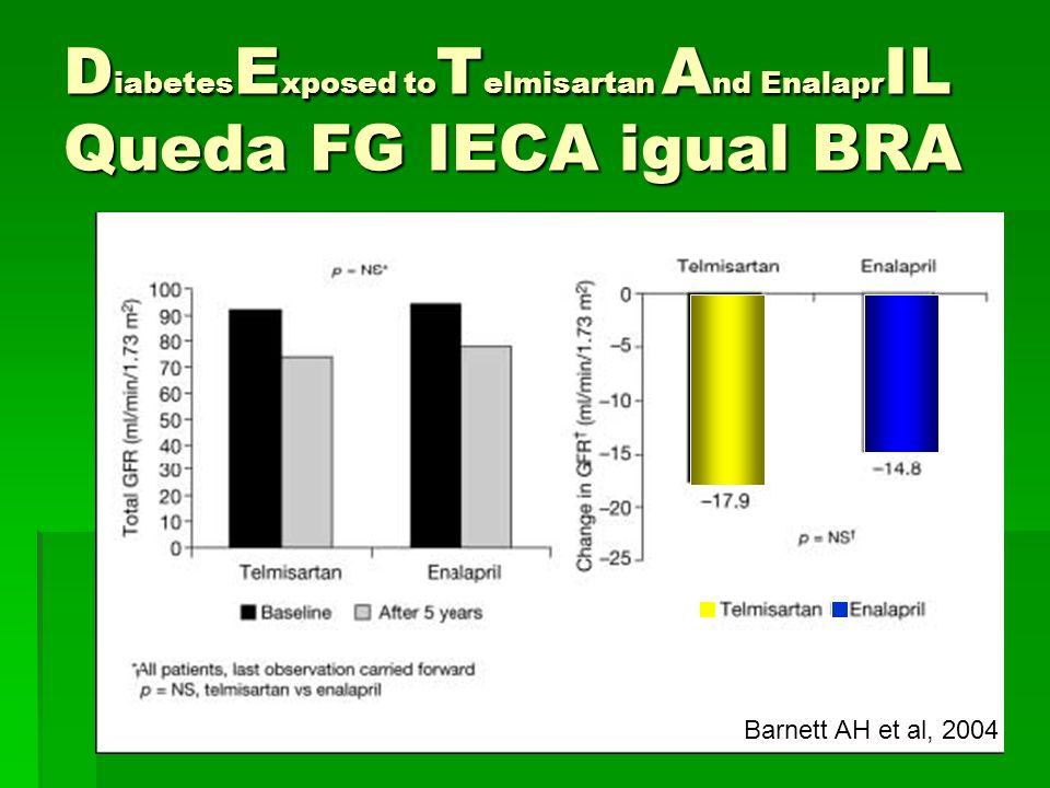 D iabetes E xposed to T elmisartan A nd Enalapr IL Queda FG IECA igual BRA Barnett AH et al, 2004
