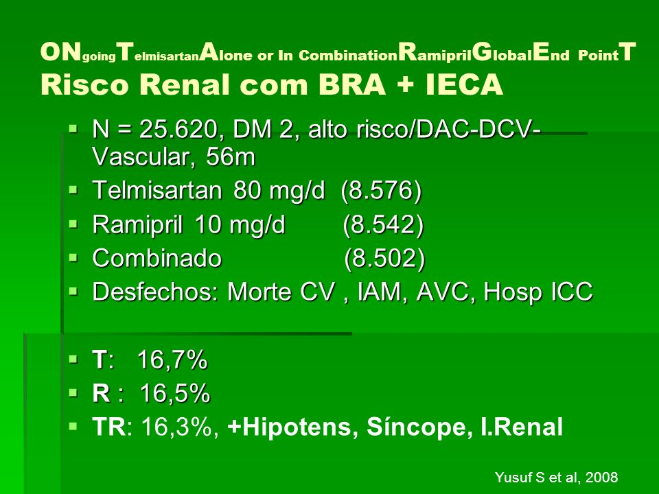 ON going T elmisartan A lone or In Combination R amipril G lobal E nd Point T Risco Renal com BRA + IECA N = 25.620, DM 2, alto risco/DAC-DCV- Vascula