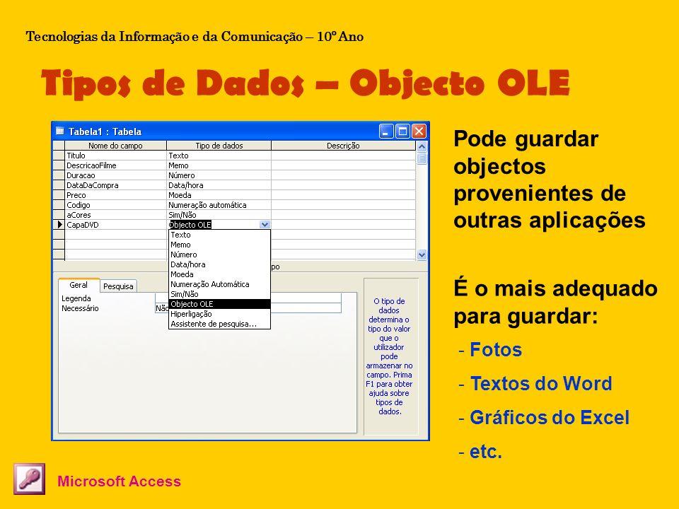 Tipos de Dados – Objecto OLE Tecnologias da Informação e da Comunicação – 10º Ano Microsoft Access Pode guardar objectos provenientes de outras aplica