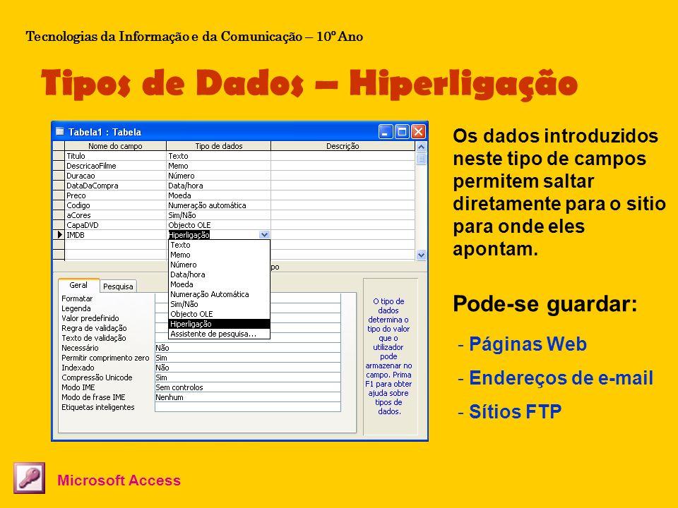 Tipos de Dados – Hiperligação Tecnologias da Informação e da Comunicação – 10º Ano Microsoft Access Os dados introduzidos neste tipo de campos permite