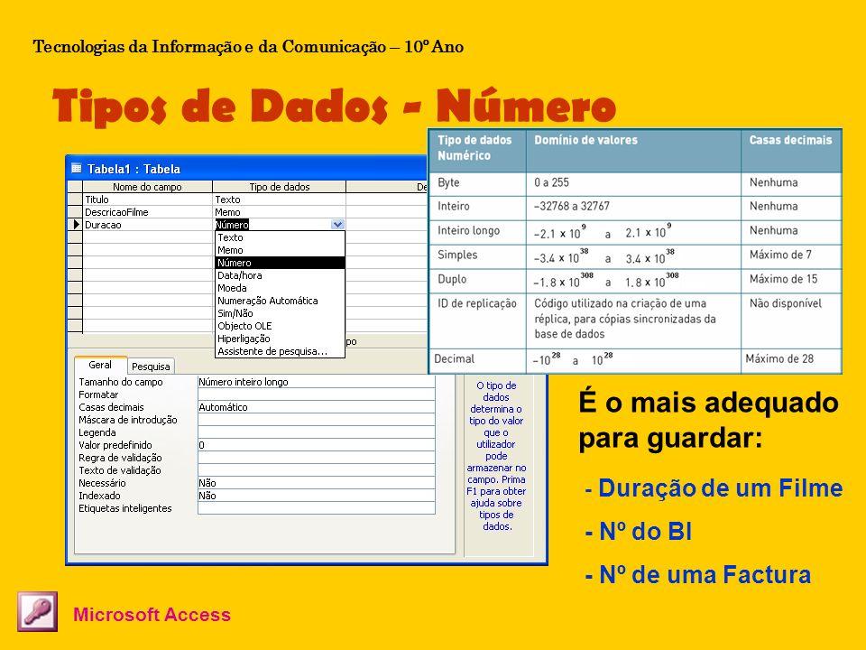 Tipos de Dados – Data/hora Tecnologias da Informação e da Comunicação – 10º Ano Os dados guardados neste tipo de campos são interpretados como datas ou horas.