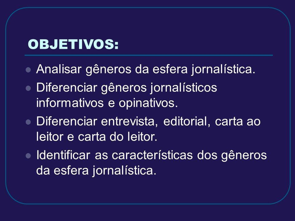 OBJETIVOS: Analisar gêneros da esfera jornalística. Diferenciar gêneros jornalísticos informativos e opinativos. Diferenciar entrevista, editorial, ca