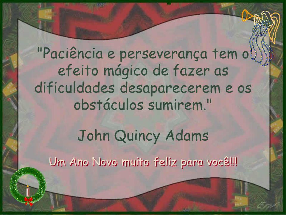 Paciência e perseverança tem o efeito mágico de fazer as dificuldades desaparecerem e os obstáculos sumirem. John Quincy Adams Um Ano Novo muito feliz para você!!!