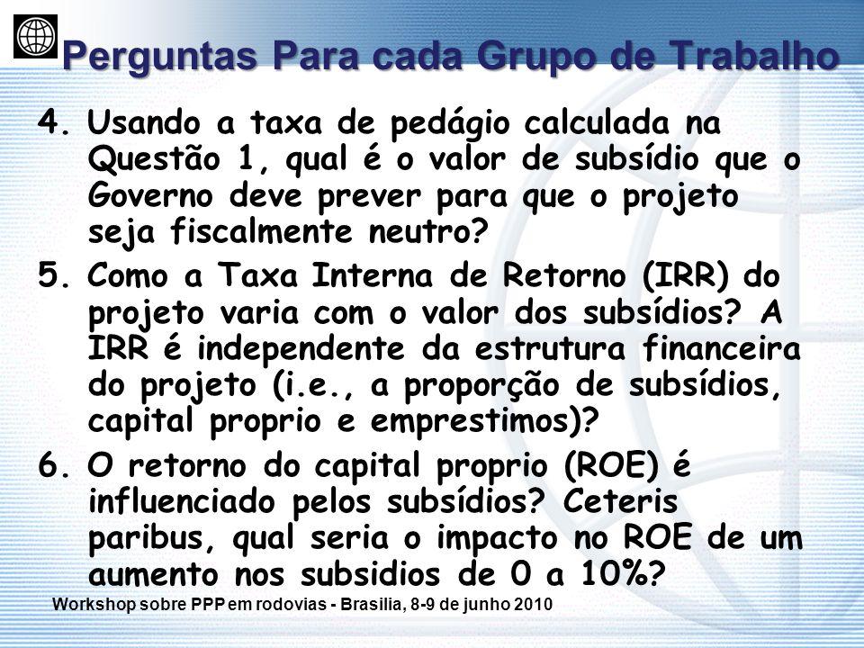 Perguntas Para cada Grupo de Trabalho 4. Usando a taxa de pedágio calculada na Questão 1, qual é o valor de subsídio que o Governo deve prever para qu