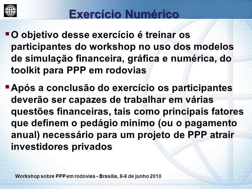 O objetivo desse exercício é treinar os participantes do workshop no uso dos modelos de simulação financeira, gráfica e numérica, do toolkit para PPP