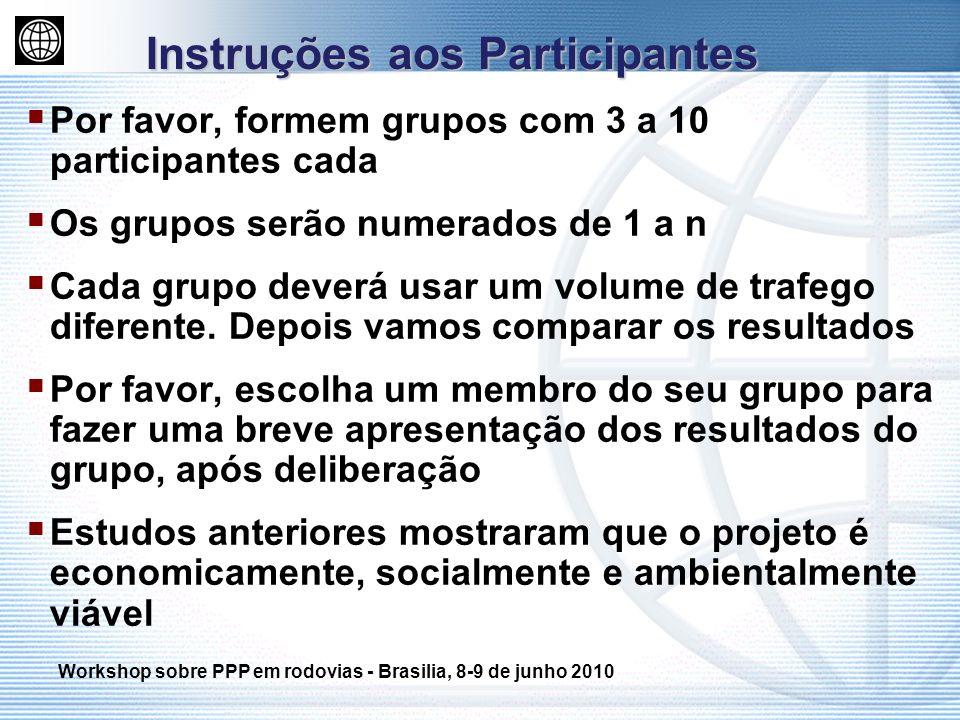 Por favor, formem grupos com 3 a 10 participantes cada Os grupos serão numerados de 1 a n Cada grupo deverá usar um volume de trafego diferente. Depoi