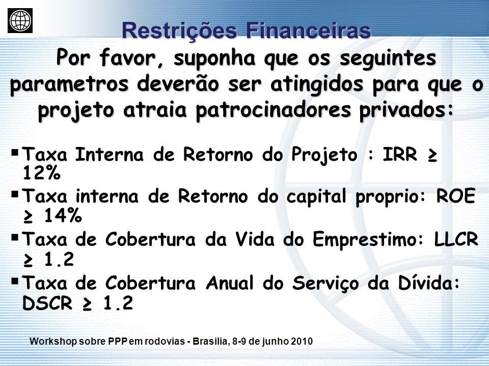 Restrições Financeiras Por favor, suponha que os seguintes parametros deverão ser atingidos para que o projeto atraia patrocinadores privados: Taxa In
