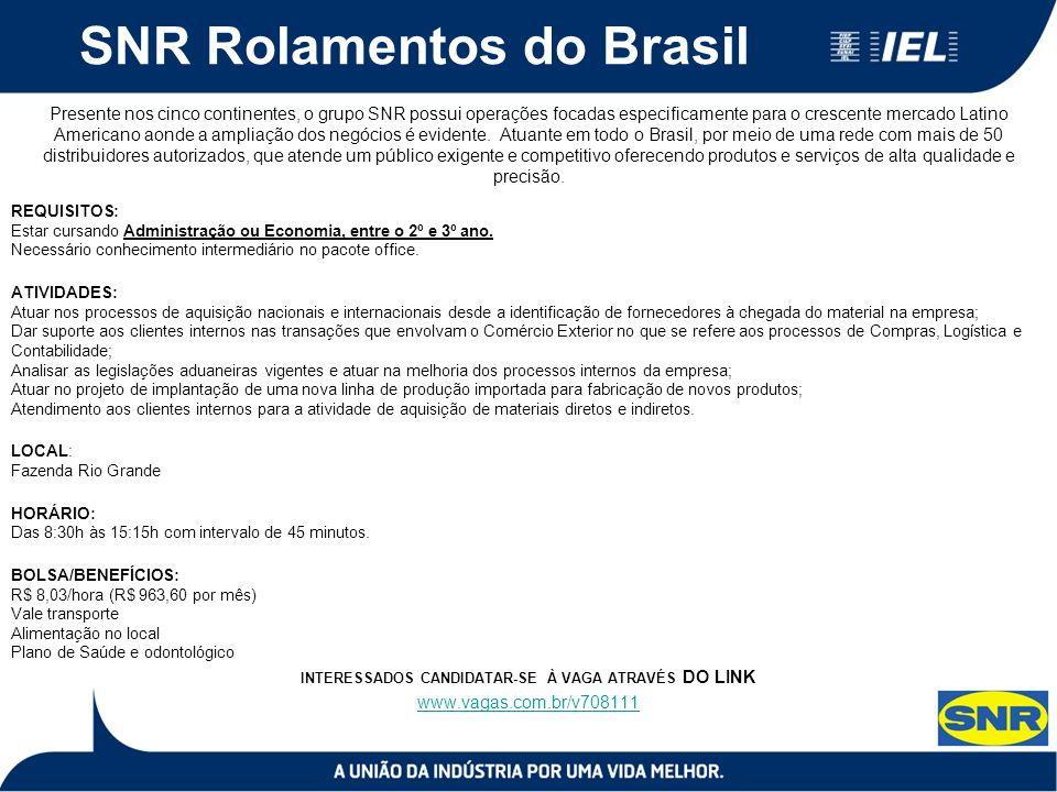 SNR Rolamentos do Brasil Presente nos cinco continentes, o grupo SNR possui operações focadas especificamente para o crescente mercado Latino Americano aonde a ampliação dos negócios é evidente.