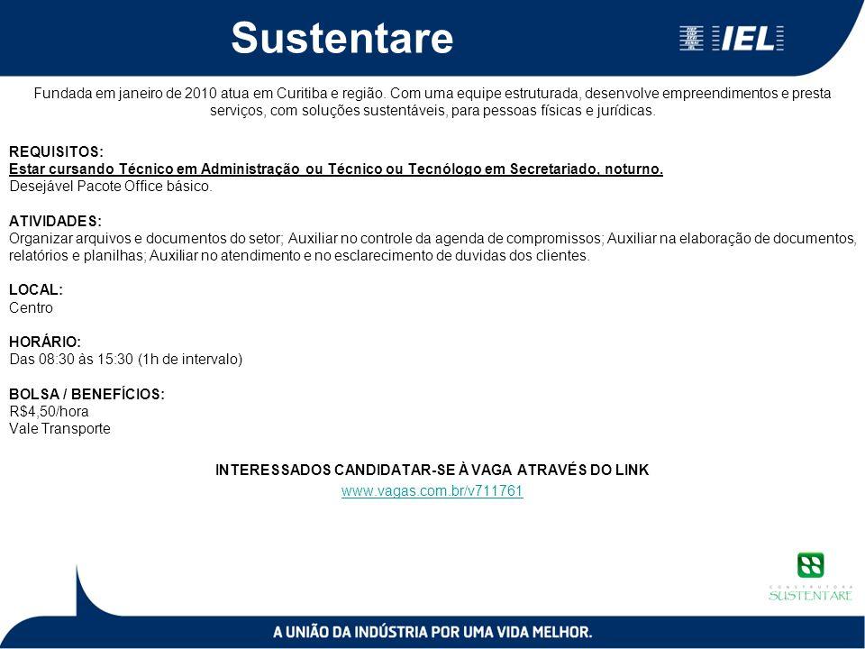 Sustentare Fundada em janeiro de 2010 atua em Curitiba e região.
