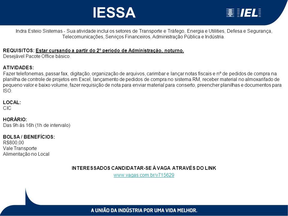 IESSA Indra Esteio Sistemas - Sua atividade inclui os setores de Transporte e Tráfego, Energia e Utilities, Defesa e Segurança, Telecomunicações, Serviços Financeiros, Administração Pública e Indústria.