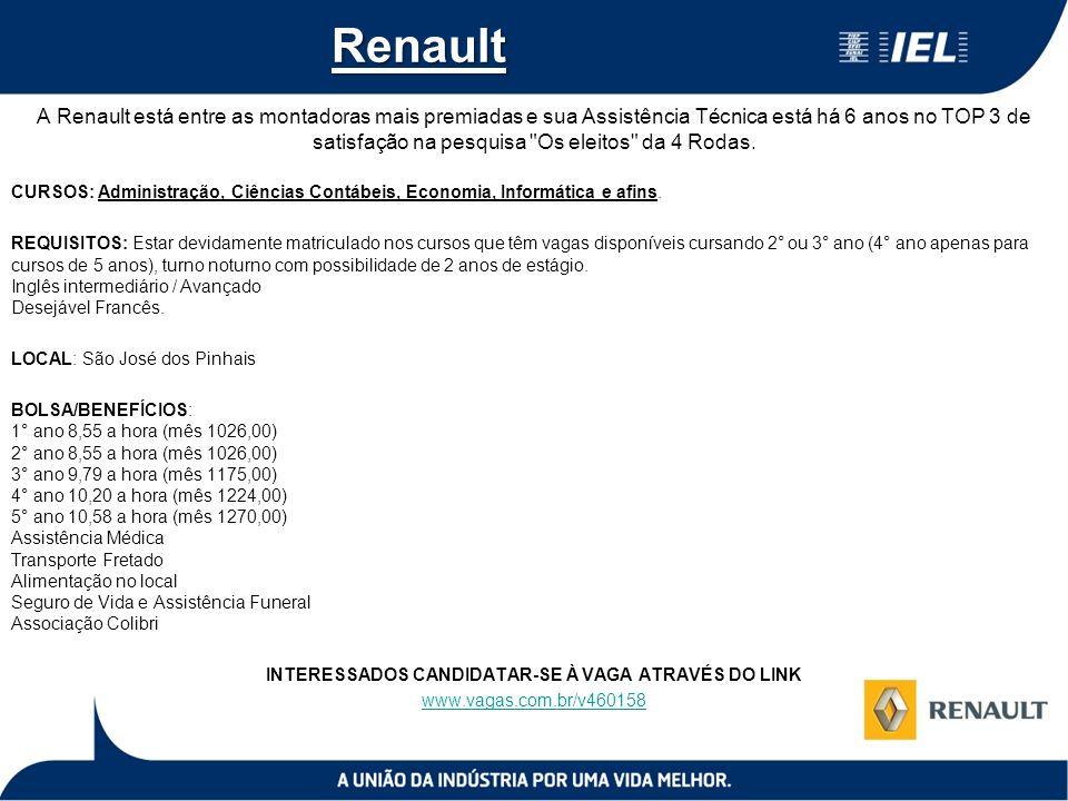 Renault A Renault está entre as montadoras mais premiadas e sua Assistência Técnica está há 6 anos no TOP 3 de satisfação na pesquisa Os eleitos da 4 Rodas.