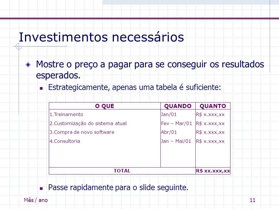 Mês / ano11 Investimentos necessários Mostre o preço a pagar para se conseguir os resultados esperados. Estrategicamente, apenas uma tabela é suficien