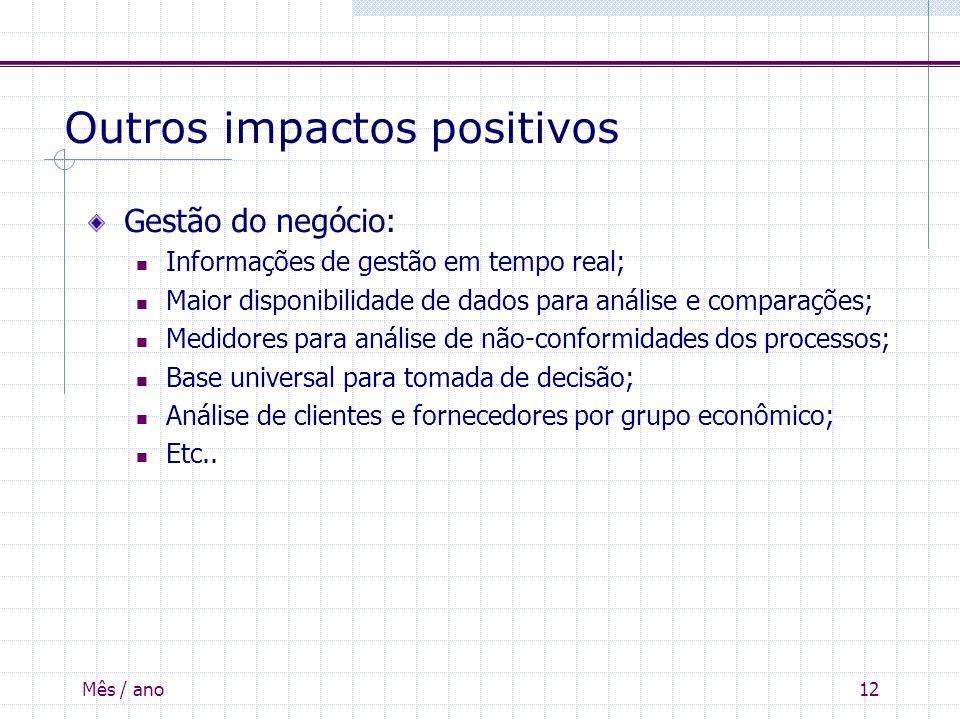 Mês / ano12 Outros impactos positivos Gestão do negócio: Informações de gestão em tempo real; Maior disponibilidade de dados para análise e comparaçõe