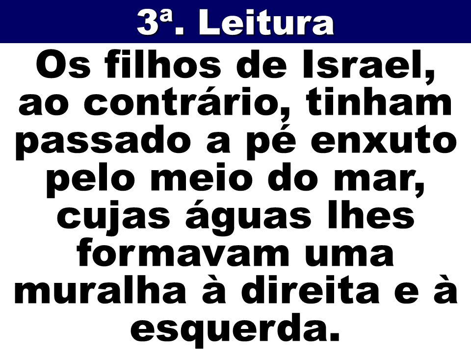 Os filhos de Israel, ao contrário, tinham passado a pé enxuto pelo meio do mar, cujas águas lhes formavam uma muralha à direita e à esquerda. 3ª. Leit