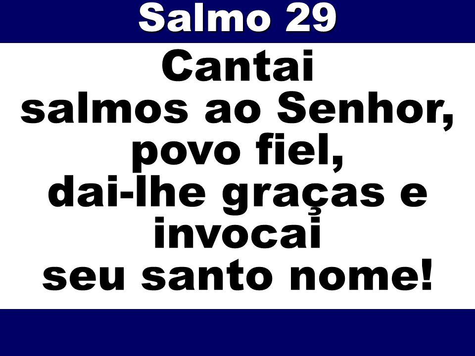 Cantai salmos ao Senhor, povo fiel, dai-lhe graças e invocai seu santo nome! Salmo 29
