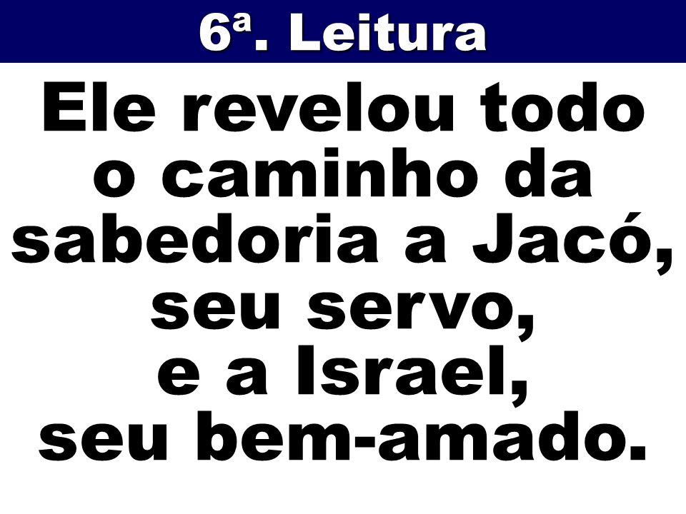 Ele revelou todo o caminho da sabedoria a Jacó, seu servo, e a Israel, seu bem-amado. 6ª. Leitura