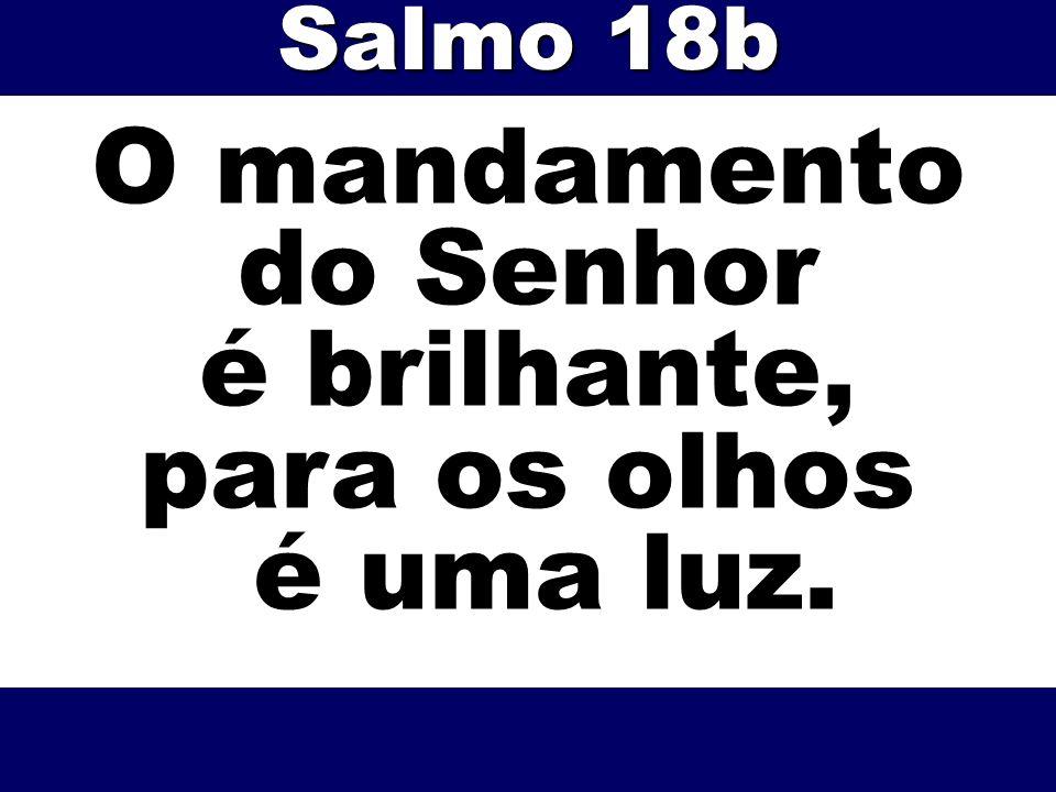 O mandamento do Senhor é brilhante, para os olhos é uma luz. Salmo 18b