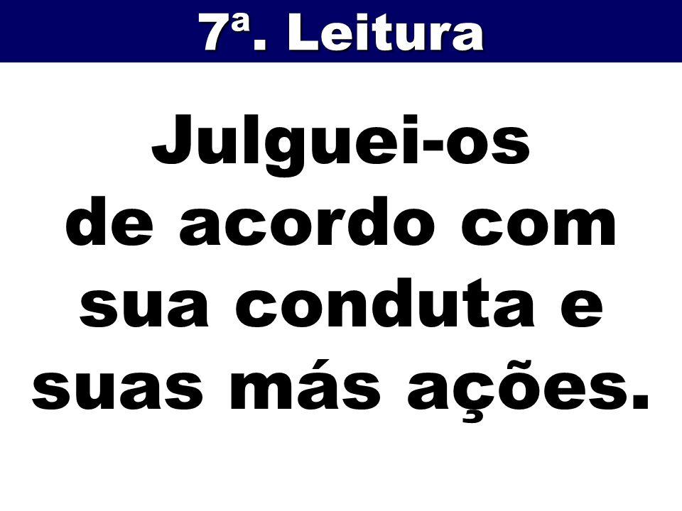 Julguei-os de acordo com sua conduta e suas más ações. 7ª. Leitura