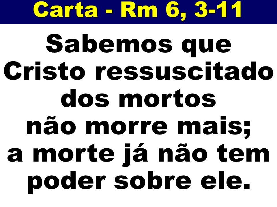 Carta - Rm 6, 3-11 Sabemos que Cristo ressuscitado dos mortos não morre mais; a morte já não tem poder sobre ele.