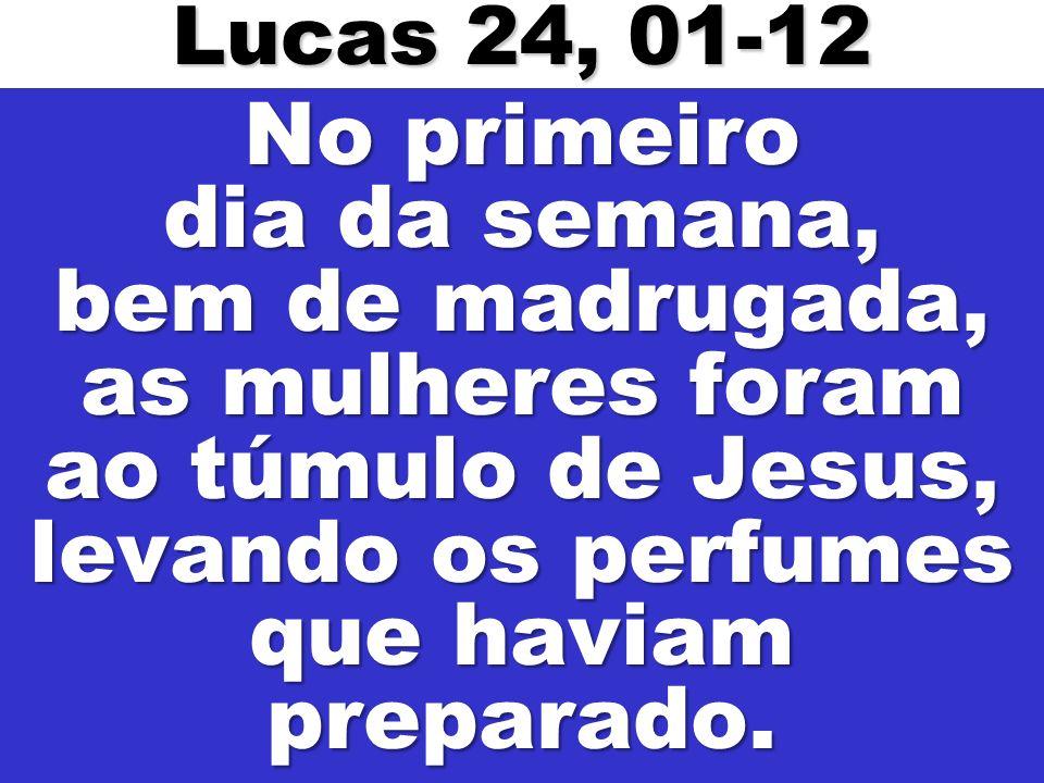 No primeiro dia da semana, bem de madrugada, as mulheres foram ao túmulo de Jesus, levando os perfumes que haviam preparado. Lucas 24, 01-12