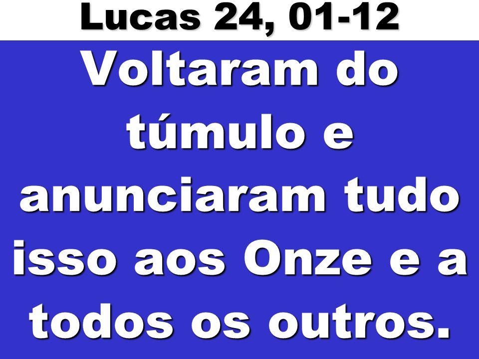 Voltaram do túmulo e anunciaram tudo isso aos Onze e a todos os outros. Lucas 24, 01-12