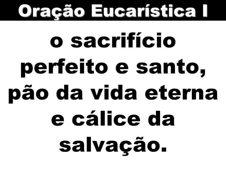 o sacrifício perfeito e santo, pão da vida eterna e cálice da salvação. Oração Eucarística I