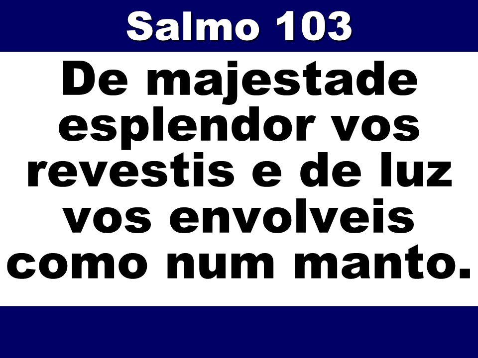 De majestade esplendor vos revestis e de luz vos envolveis como num manto. Salmo 103