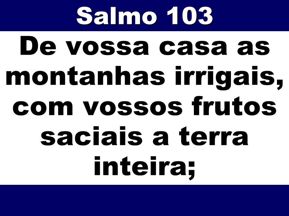 De vossa casa as montanhas irrigais, com vossos frutos saciais a terra inteira; Salmo 103