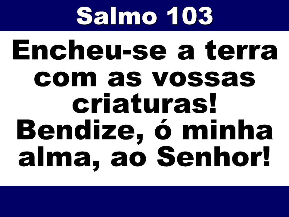 Encheu-se a terra com as vossas criaturas! Bendize, ó minha alma, ao Senhor! Salmo 103