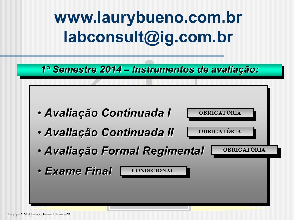 Copyright © 2014 Laury A. Bueno Labconsult www.laurybueno.com.br labconsult@ig.com.br