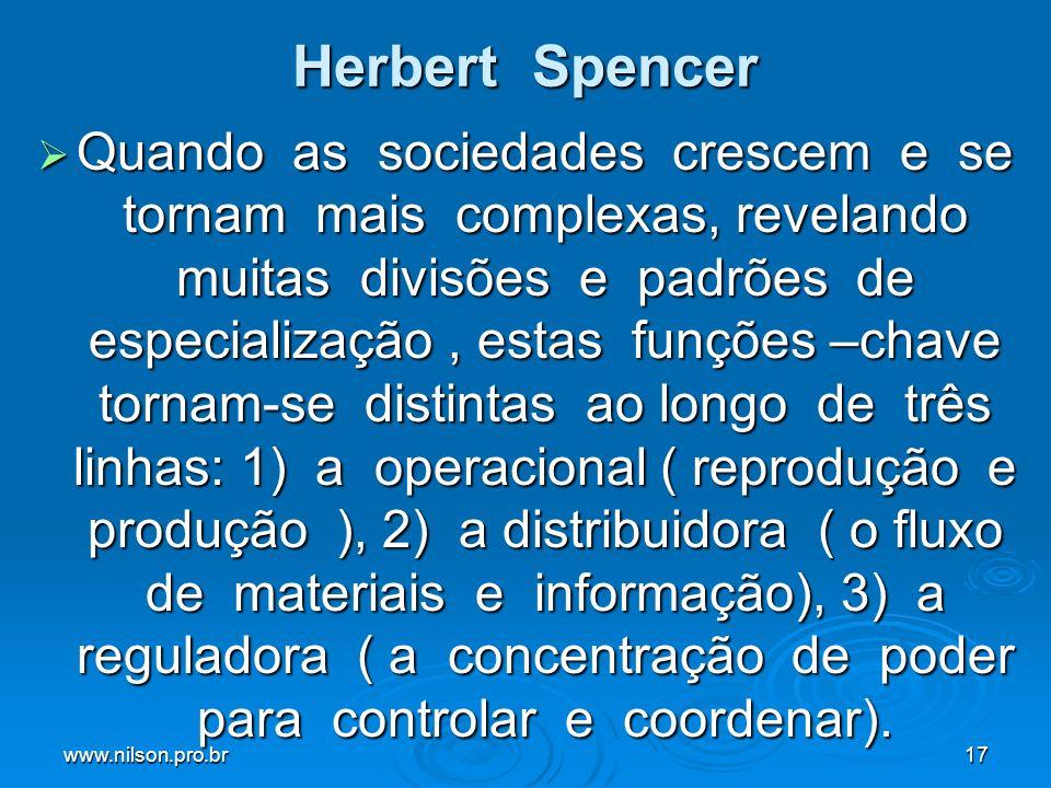 www.nilson.pro.br17 Herbert Spencer Quando as sociedades crescem e se tornam mais complexas, revelando muitas divisões e padrões de especialização, es