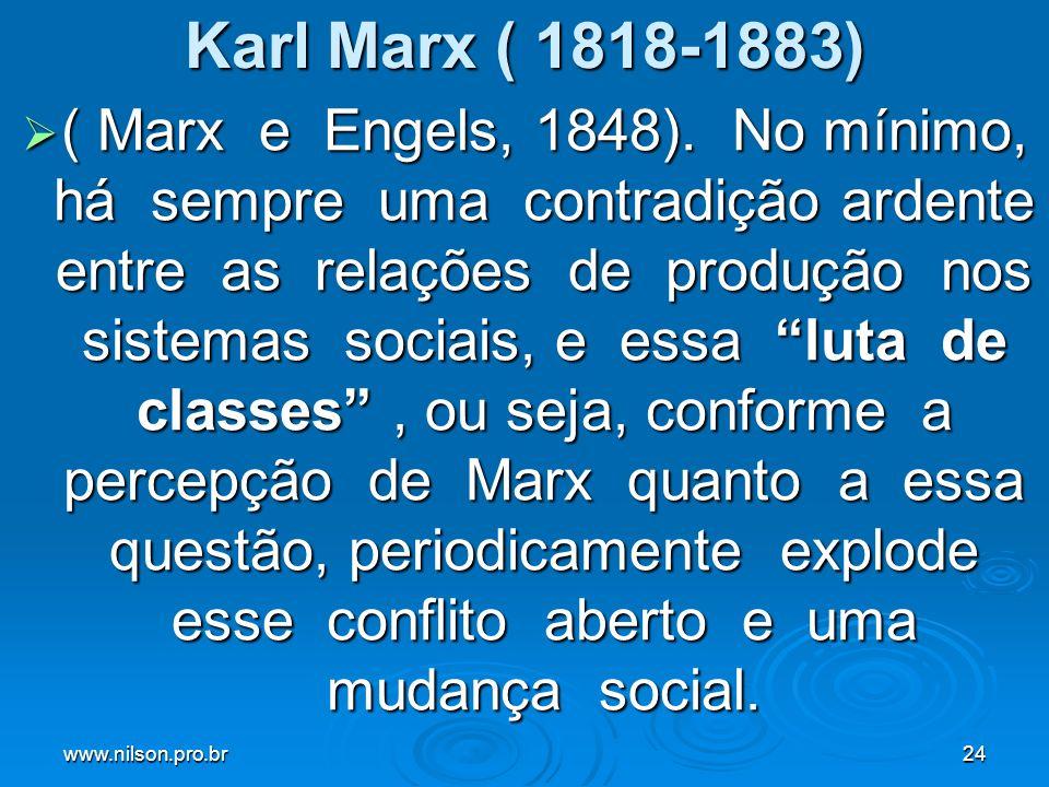 www.nilson.pro.br24 Karl Marx ( 1818-1883) ( Marx e Engels, 1848). No mínimo, há sempre uma contradição ardente entre as relações de produção nos sist