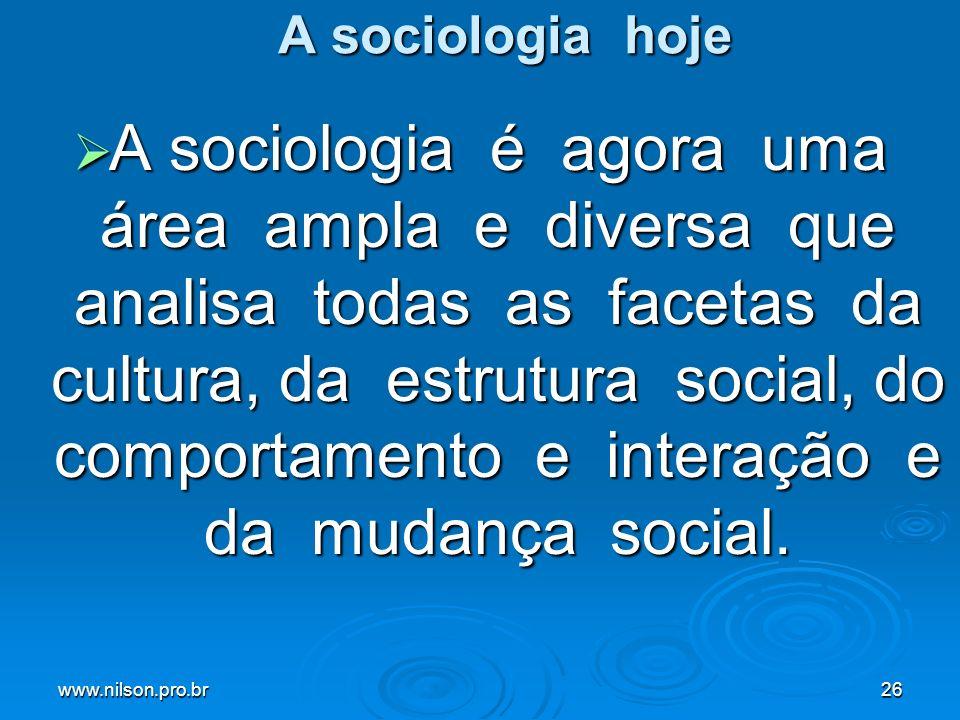 www.nilson.pro.br26 A sociologia hoje A sociologia é agora uma área ampla e diversa que analisa todas as facetas da cultura, da estrutura social, do c