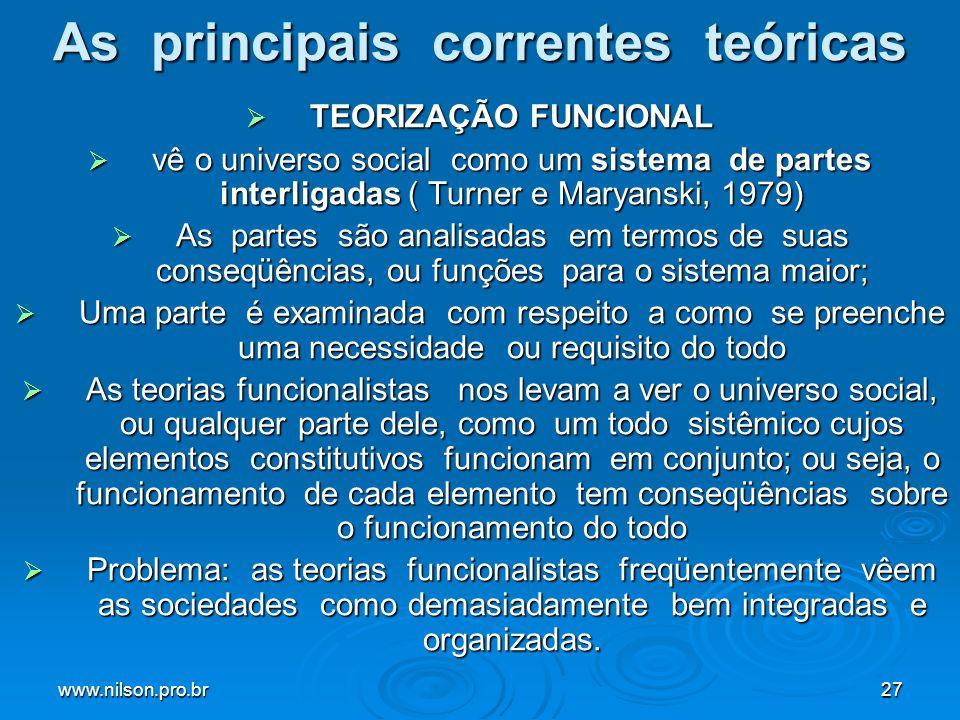 www.nilson.pro.br27 As principais correntes teóricas TEORIZAÇÃO FUNCIONAL TEORIZAÇÃO FUNCIONAL vê o universo social como um sistema de partes interlig