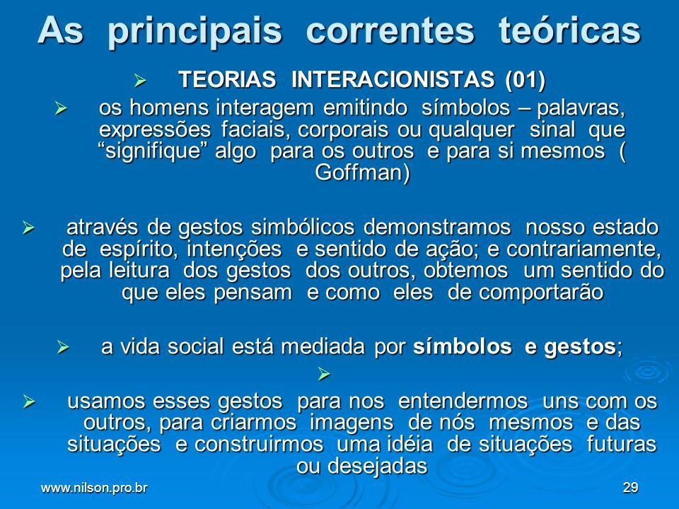 www.nilson.pro.br29 As principais correntes teóricas TEORIAS INTERACIONISTAS (01) TEORIAS INTERACIONISTAS (01) os homens interagem emitindo símbolos – palavras, expressões faciais, corporais ou qualquer sinal que signifique algo para os outros e para si mesmos ( Goffman) os homens interagem emitindo símbolos – palavras, expressões faciais, corporais ou qualquer sinal que signifique algo para os outros e para si mesmos ( Goffman) através de gestos simbólicos demonstramos nosso estado de espírito, intenções e sentido de ação; e contrariamente, pela leitura dos gestos dos outros, obtemos um sentido do que eles pensam e como eles de comportarão através de gestos simbólicos demonstramos nosso estado de espírito, intenções e sentido de ação; e contrariamente, pela leitura dos gestos dos outros, obtemos um sentido do que eles pensam e como eles de comportarão a vida social está mediada por símbolos e gestos; a vida social está mediada por símbolos e gestos; usamos esses gestos para nos entendermos uns com os outros, para criarmos imagens de nós mesmos e das situações e construirmos uma idéia de situações futuras ou desejadas usamos esses gestos para nos entendermos uns com os outros, para criarmos imagens de nós mesmos e das situações e construirmos uma idéia de situações futuras ou desejadas