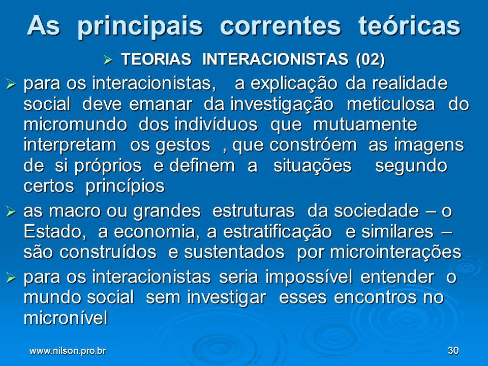 www.nilson.pro.br30 As principais correntes teóricas TEORIAS INTERACIONISTAS (02) TEORIAS INTERACIONISTAS (02) para os interacionistas, a explicação d