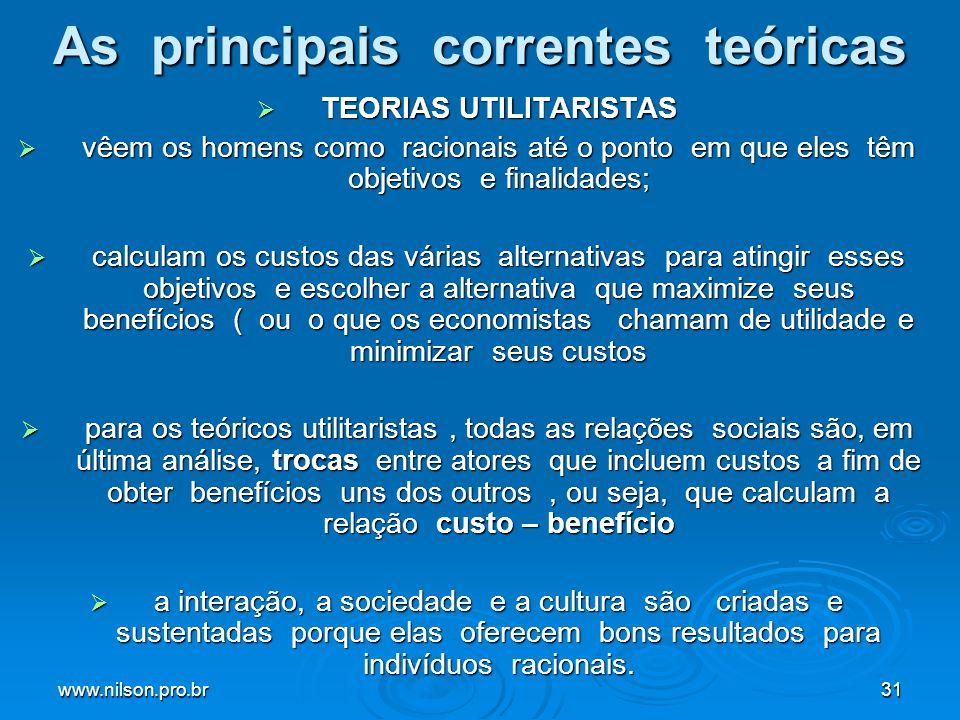 www.nilson.pro.br31 As principais correntes teóricas TEORIAS UTILITARISTAS TEORIAS UTILITARISTAS vêem os homens como racionais até o ponto em que eles