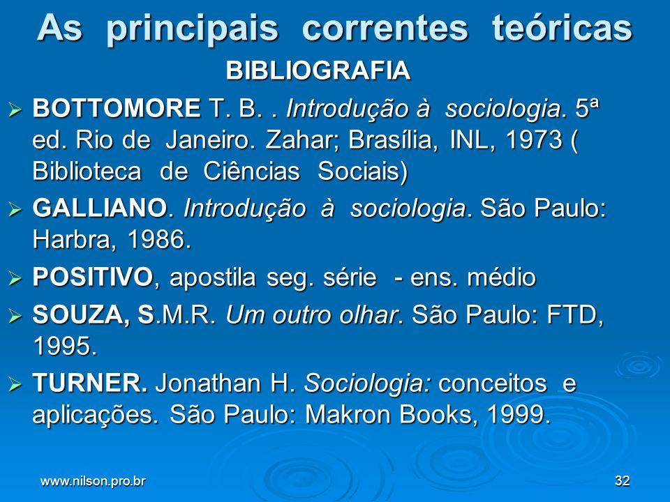 www.nilson.pro.br32 As principais correntes teóricas BIBLIOGRAFIA BOTTOMORE T. B.. Introdução à sociologia. 5ª ed. Rio de Janeiro. Zahar; Brasília, IN