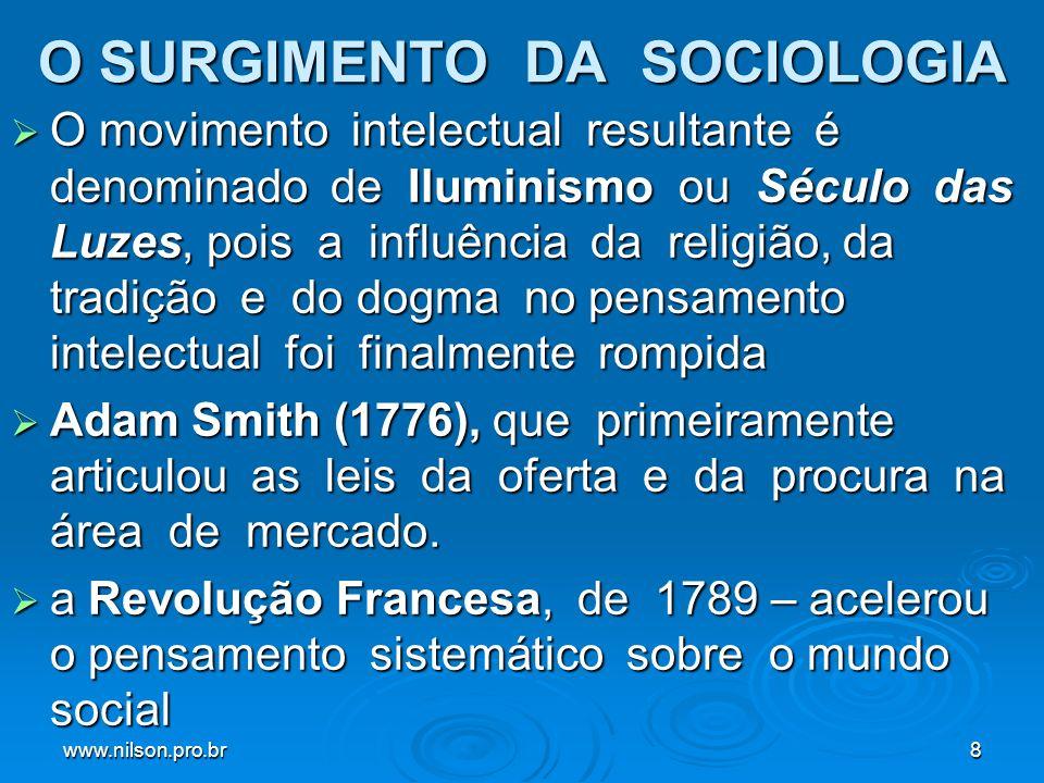 www.nilson.pro.br19 A Tradição Francesa: Émile Durkheim ( 1858-1917) O que marca a contribuição de Durkheim à sociologia é o reconhecimento de que os sistemas de símbolos culturais - ou seja, valores, crenças, dogmas religiosos, ideologias etc.- são uma base importante para a integração da sociedade O que marca a contribuição de Durkheim à sociologia é o reconhecimento de que os sistemas de símbolos culturais - ou seja, valores, crenças, dogmas religiosos, ideologias etc.- são uma base importante para a integração da sociedade