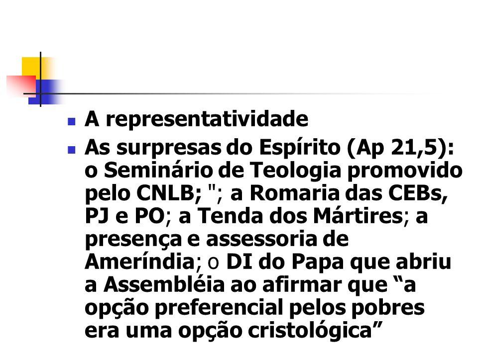 A representatividade As surpresas do Espírito (Ap 21,5): o Seminário de Teologia promovido pelo CNLB;