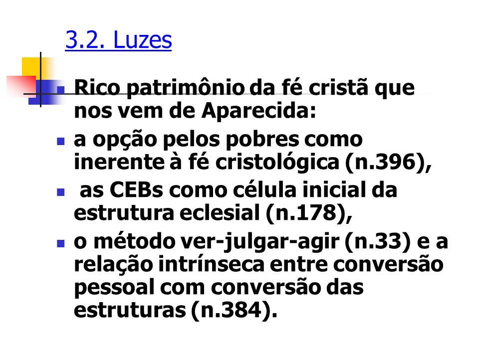 3.2. Luzes Rico patrimônio da fé cristã que nos vem de Aparecida: a opção pelos pobres como inerente à fé cristológica (n.396), as CEBs como célula in