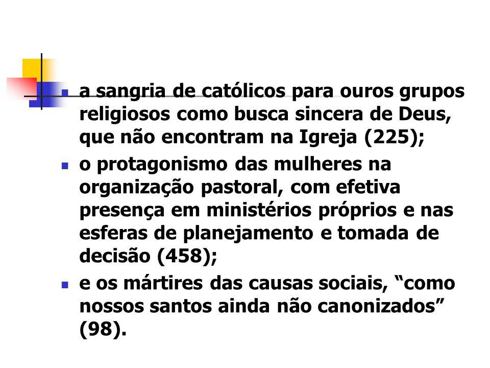 a sangria de católicos para ouros grupos religiosos como busca sincera de Deus, que não encontram na Igreja (225); o protagonismo das mulheres na orga
