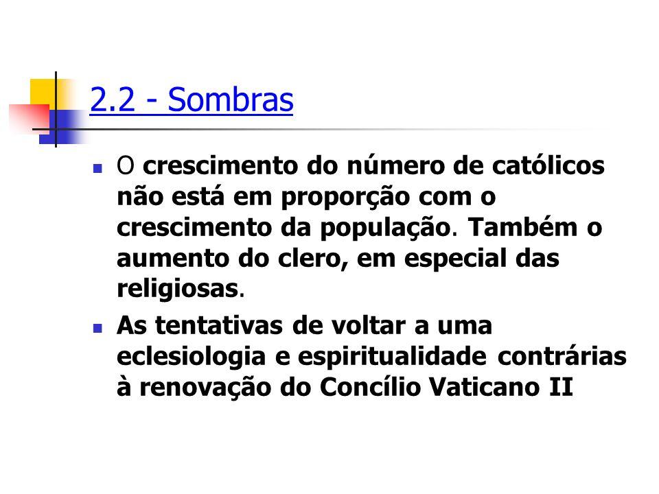2.2 - Sombras O crescimento do número de católicos não está em proporção com o crescimento da população. Também o aumento do clero, em especial das re