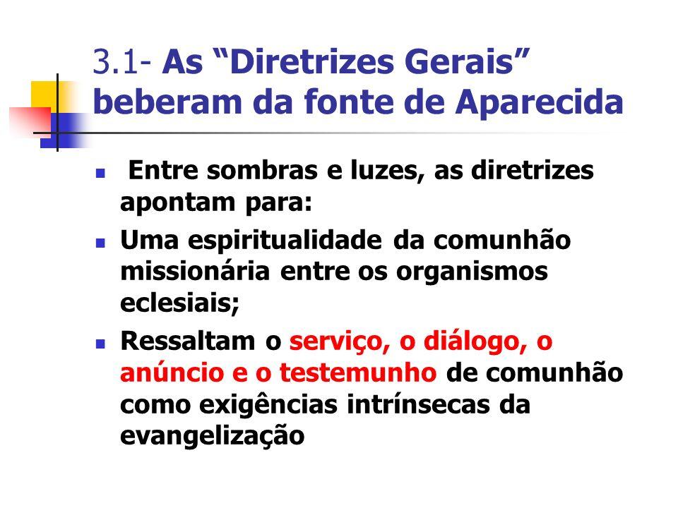 Entre sombras e luzes, as diretrizes apontam para: Uma espiritualidade da comunhão missionária entre os organismos eclesiais; Ressaltam o serviço, o d