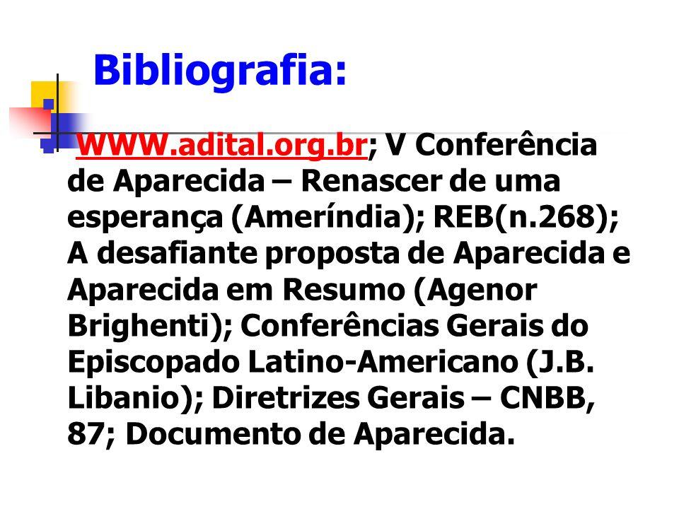 Bibliografia: WWW.adital.org.br; V Conferência de Aparecida – Renascer de uma esperança (Ameríndia); REB(n.268); A desafiante proposta de Aparecida e
