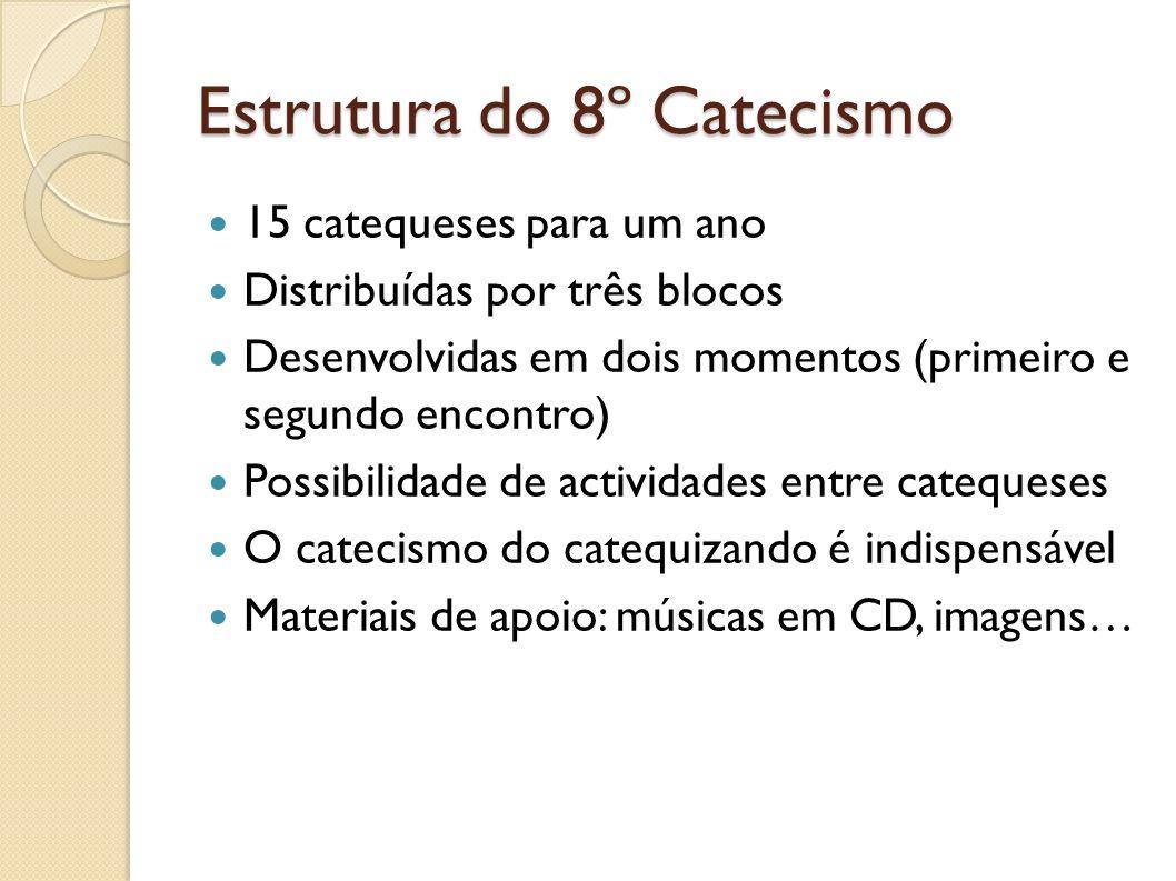 Estrutura do 8º Catecismo 15 catequeses para um ano Distribuídas por três blocos Desenvolvidas em dois momentos (primeiro e segundo encontro) Possibil