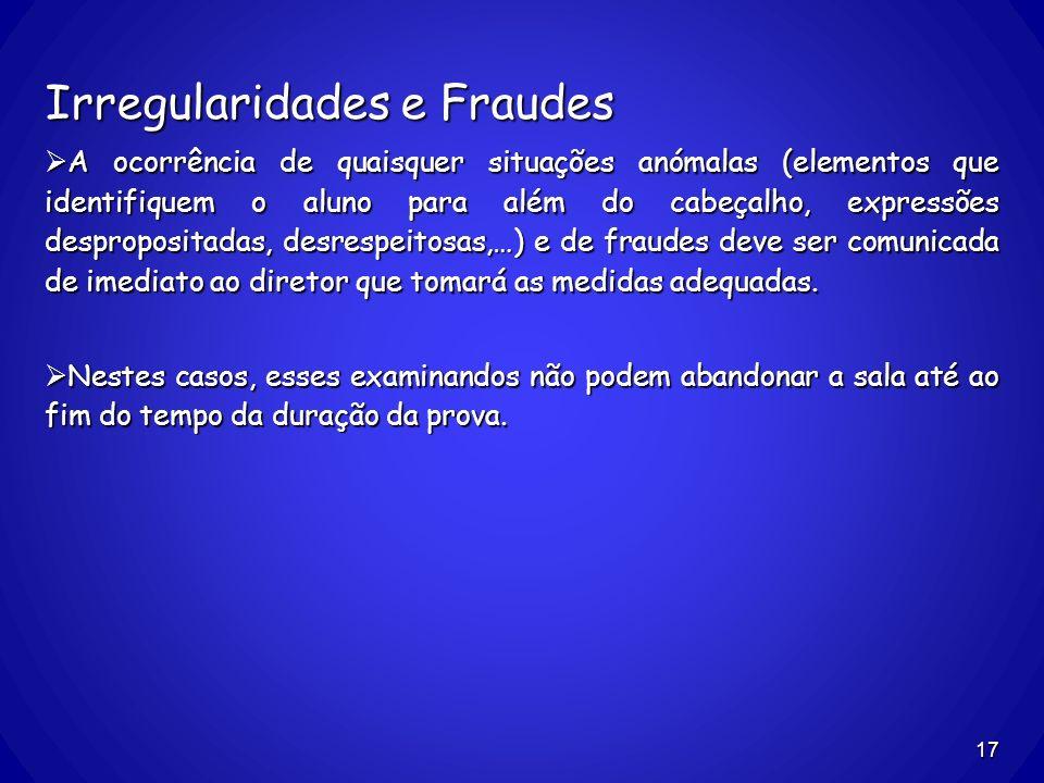 Irregularidades e Fraudes A ocorrência de quaisquer situações anómalas (elementos que identifiquem o aluno para além do cabeçalho, expressões despropo
