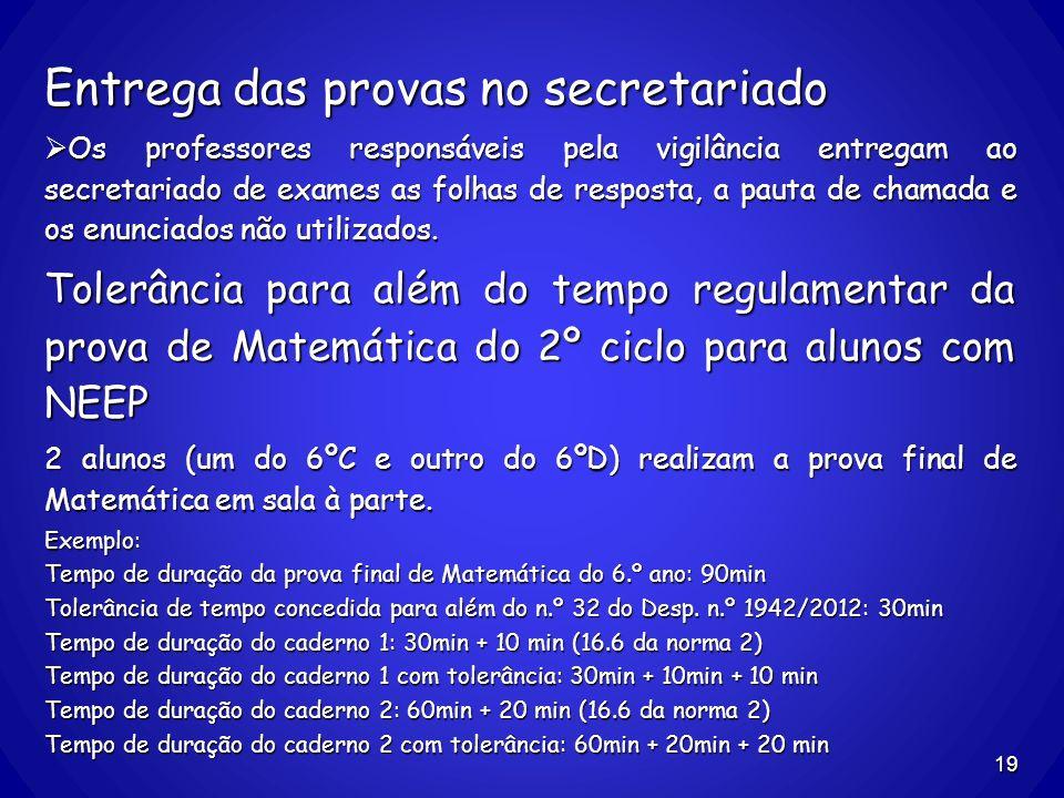 Entrega das provas no secretariado Os professores responsáveis pela vigilância entregam ao secretariado de exames as folhas de resposta, a pauta de ch
